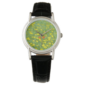 Watercolor poppies watch