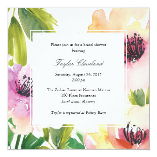 Watercolor Poppies Wedding Shower Invitation
