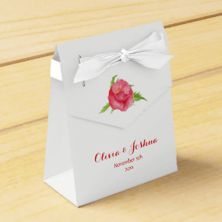 Watercolor Poppy Flower Wedding Favor Boxes