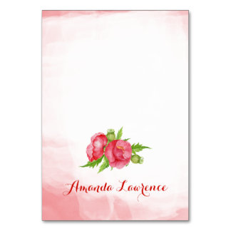 Watercolor Poppy Personalized Place Cards