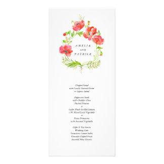 Watercolor Poppy Wreath Menu Rack Card Template