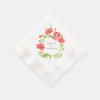 Watercolor Poppy Wreath Napkins Disposable Napkins
