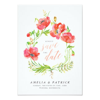 Watercolor Poppy Wreath Wedding Save the Dates Card