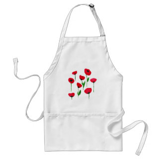 watercolor poppys standard apron