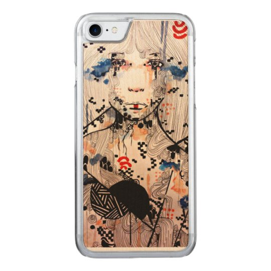 Watercolor portrait, tattoo art, wood iPhone6 Carved iPhone 8/7 Case
