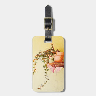 Watercolor Potted Plant and Butterfly Luggage Tag