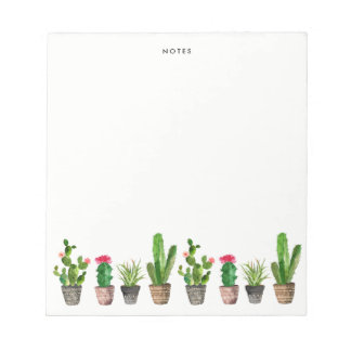 Watercolor Potted Succulents and Cactus Custom Notepad