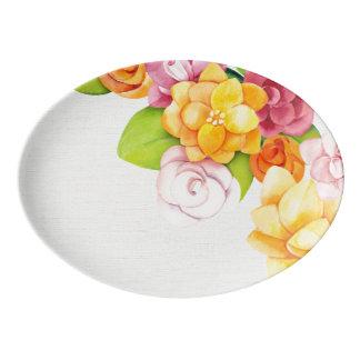 Watercolor Pretty Bright Florals (1) Porcelain Serving Platter