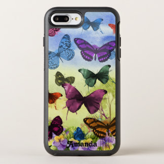 Watercolor Pretty Butterflies and Pansies OtterBox Symmetry iPhone 8 Plus/7 Plus Case