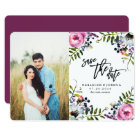 Watercolor Pretty Flowers Save the Date with Photo Card