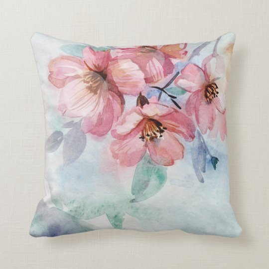 Watercolor Pretty Flowers Throw Pillow
