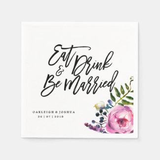 Watercolor Pretty Flowers Wedding Napkin