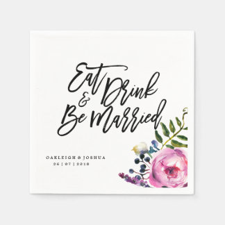 Watercolor Pretty Flowers Wedding Napkin Disposable Napkin