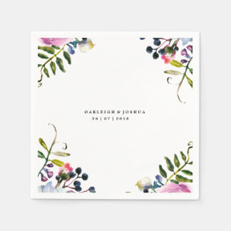 Watercolor Pretty Flowers Wedding Napkin Disposable Napkins