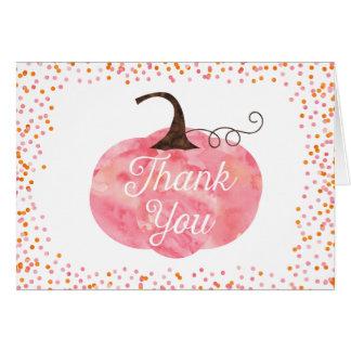 Watercolor Pumpkin Confetti Thank You Card