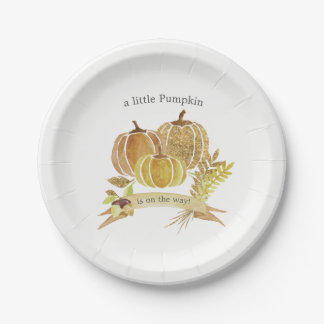 Watercolor Pumpkin Fall Baby Shower Paper Plate
