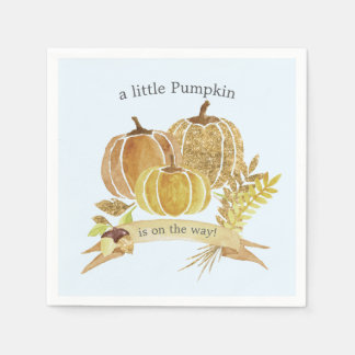 Watercolor Pumpkin Fall Blue Baby Shower Napkins