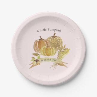 Watercolor Pumpkin Fall Pink Baby Shower Paper Plate