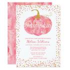 Watercolor Pumpkin Glitter Fall Girl Baby Shower Card