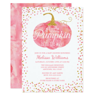 Watercolor Pumpkin Glitter Fall Girl Baby Shower Card