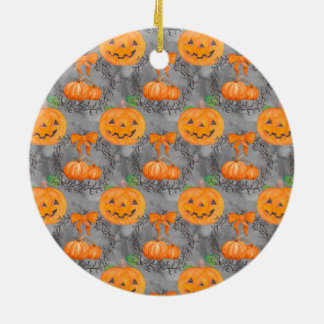 Watercolor Pumpkin Pattern Ceramic Ornament