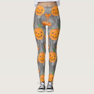 Watercolor Pumpkin Pattern Leggings