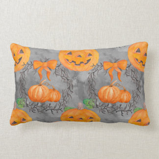 Watercolor Pumpkin Pattern Lumbar Pillow