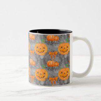 Watercolor Pumpkin Pattern Two-Tone Coffee Mug
