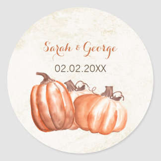 watercolor pumpkins fall wedding favors stickers