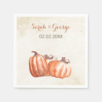 watercolor pumpkins Fall wedding napkin Disposable Napkins
