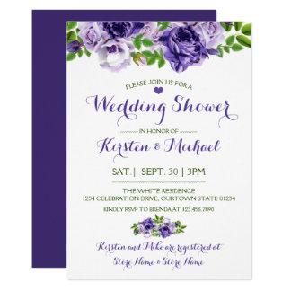 Watercolor Purp Floral   Wedding Shower Invitation