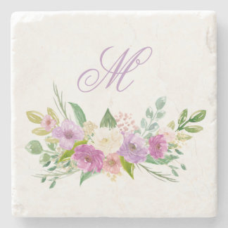Watercolor Purple and White Posies with Monogram Stone Beverage Coaster