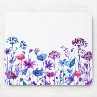 Watercolor Purple Field Flowers Mouse Pad