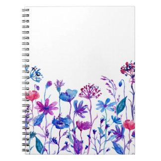Watercolor Purple Field Flowers Notebooks