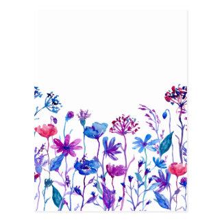 Watercolor Purple Field Flowers Postcard