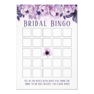 Watercolor Purple Floral Bridal Shower Bingo Card