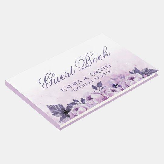 Watercolor Purple Floral Elegant Spring Wedding Guest Book
