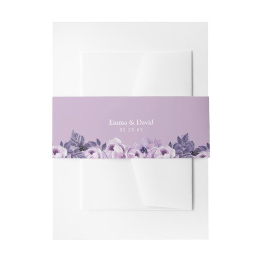 Watercolor Purple Floral Elegant Spring Wedding Invitation Belly Band
