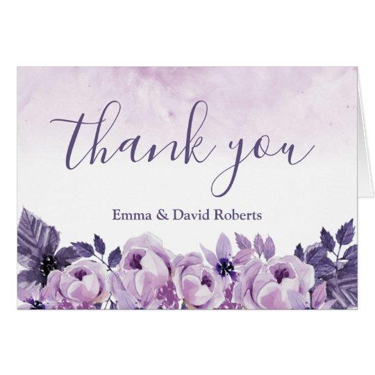 Watercolor Purple Floral Elegant Wedding Thank You Card