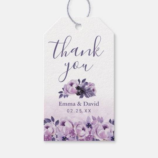 Watercolor Purple Floral Elegant Wedding Thank You Gift Tags