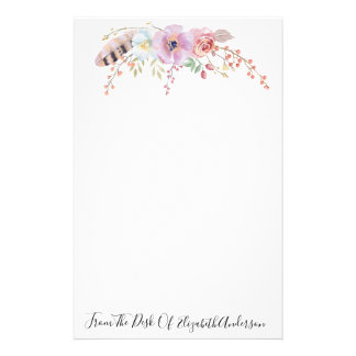 Watercolor Purple Floral & Feather Personalized Stationery
