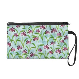 Watercolor Purple Floral Pattern Wristlet
