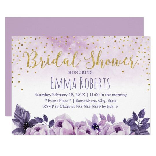 Watercolor Purple Floral Spring Bridal Shower Card