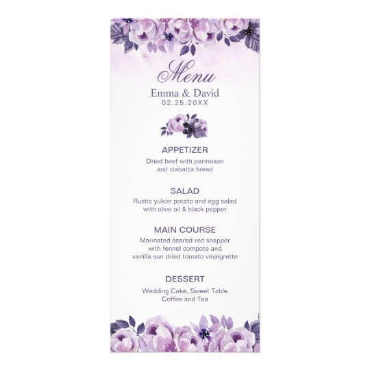 Watercolor Purple Floral Spring Wedding Menu
