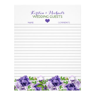 Watercolor Purple Floral | Wedding Guestbook Paper