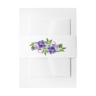 Watercolor Purple Floral | Wedding Invitation Belly Band