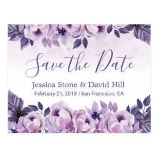 Watercolor Purple Floral Wedding Save the Date Postcard