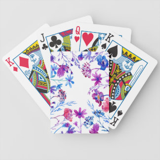 Watercolor Purple Flower Border Bicycle Playing Cards