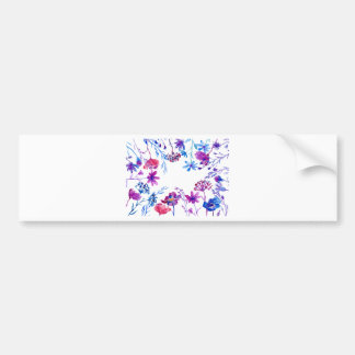 Watercolor Purple Flower Border Bumper Sticker