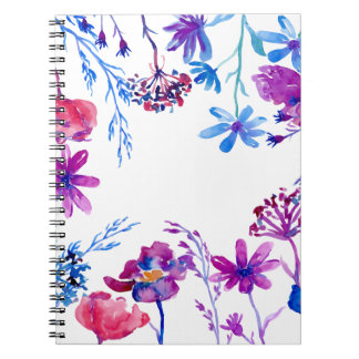 Watercolor Purple Flower Border Notebook